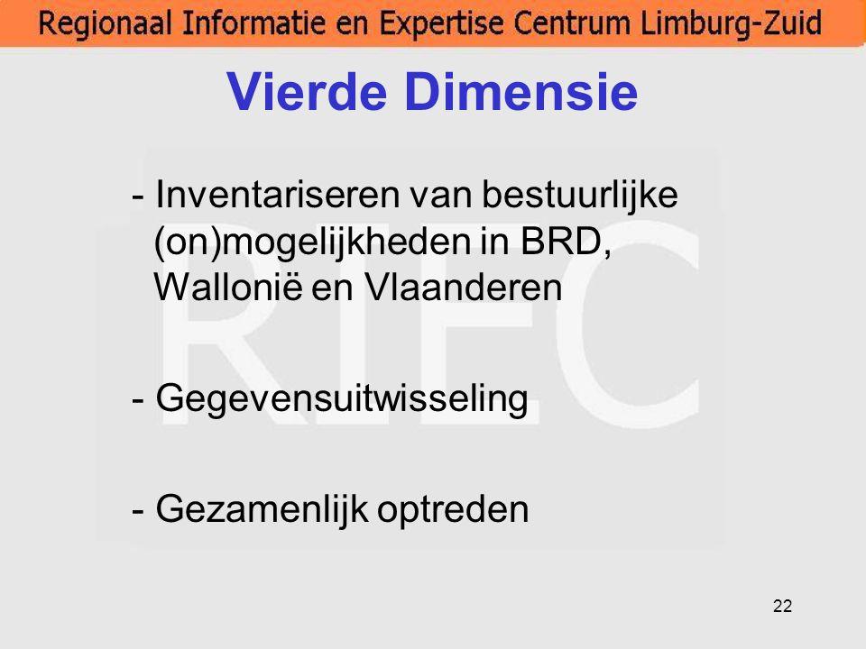 Vierde Dimensie - Inventariseren van bestuurlijke (on)mogelijkheden in BRD, Wallonië en Vlaanderen.
