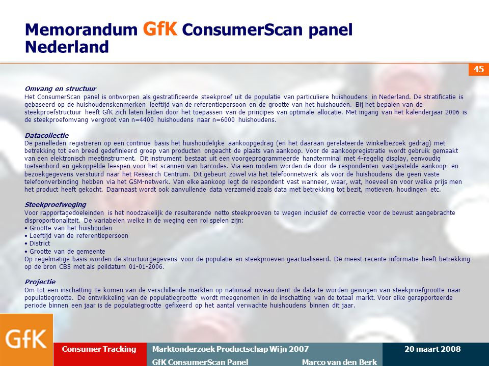 Memorandum GfK ConsumerScan panel Nederland