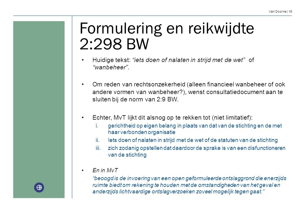 Formulering en reikwijdte 2:298 BW