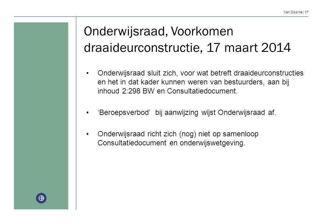 Onderwijsraad, Voorkomen draaideurconstructie, 17 maart 2014