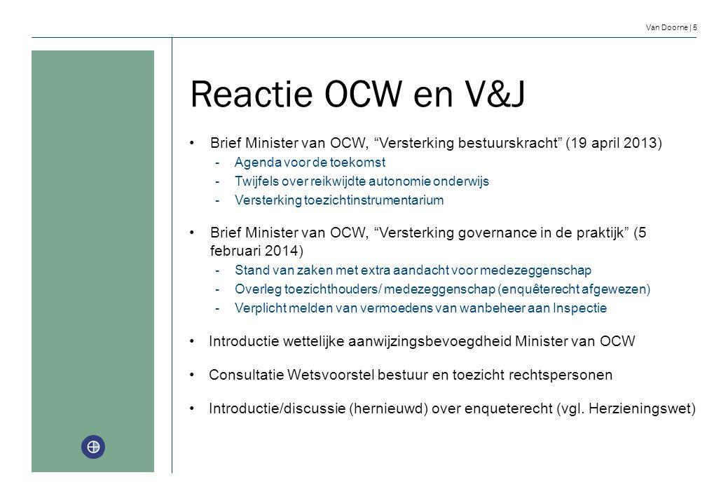 Reactie OCW en V&J Brief Minister van OCW, Versterking bestuurskracht (19 april 2013) Agenda voor de toekomst.