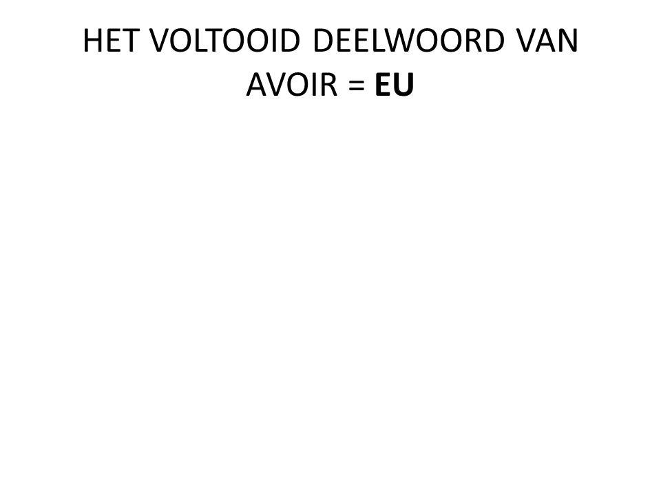 HET VOLTOOID DEELWOORD VAN AVOIR = EU
