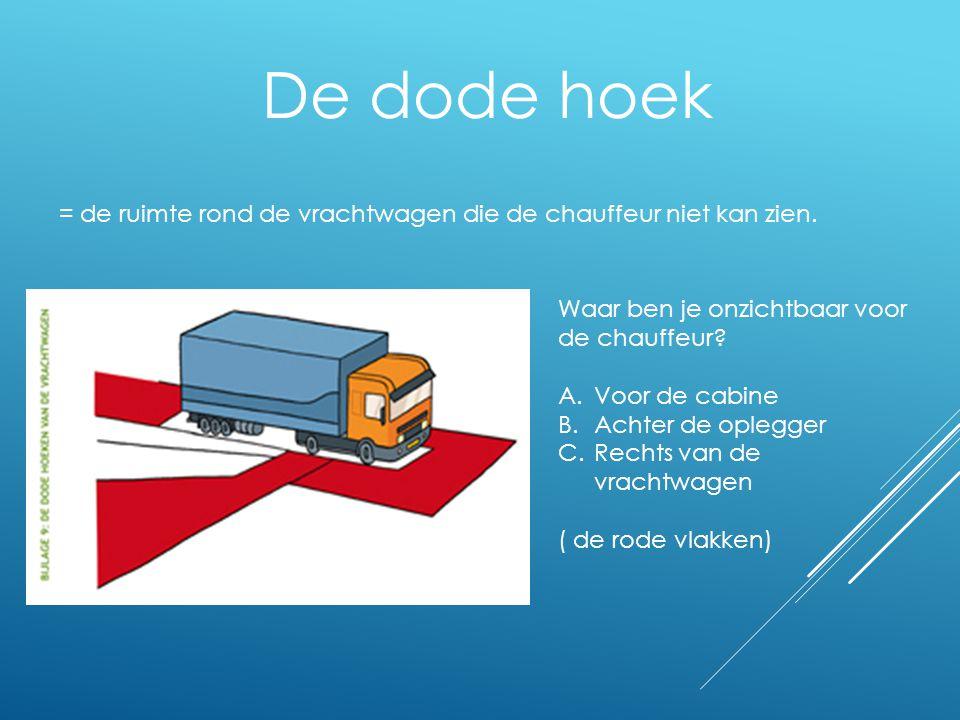 De dode hoek = de ruimte rond de vrachtwagen die de chauffeur niet kan zien. Waar ben je onzichtbaar voor de chauffeur