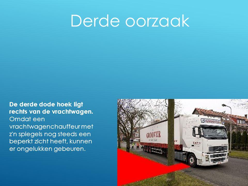 Derde oorzaak De derde dode hoek ligt rechts van de vrachtwagen.
