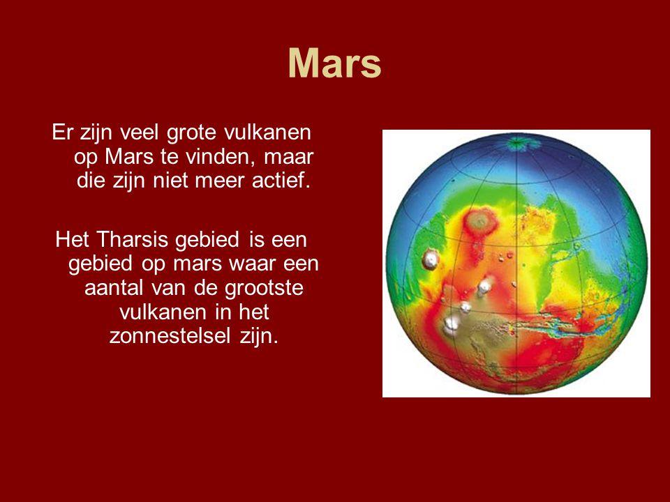 Mars Er zijn veel grote vulkanen op Mars te vinden, maar die zijn niet meer actief.