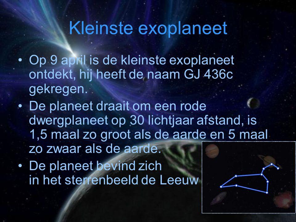 Kleinste exoplaneet Op 9 april is de kleinste exoplaneet ontdekt, hij heeft de naam GJ 436c gekregen.