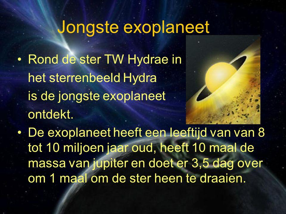 Jongste exoplaneet Rond de ster TW Hydrae in het sterrenbeeld Hydra