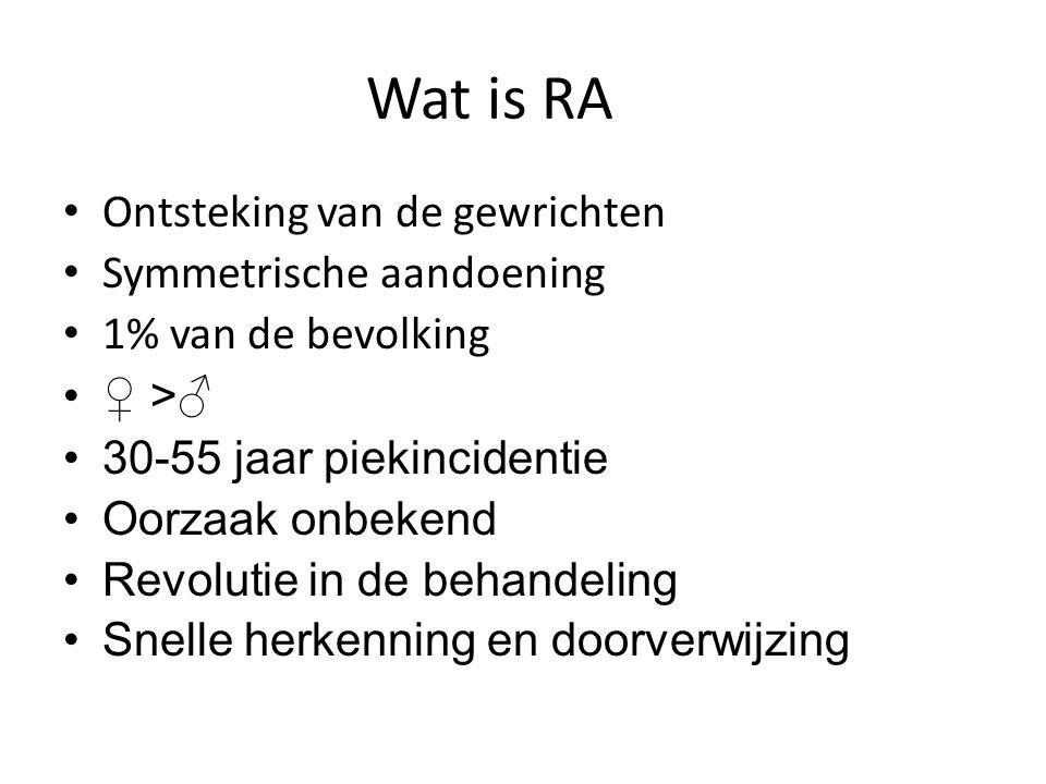 Wat is RA Ontsteking van de gewrichten Symmetrische aandoening