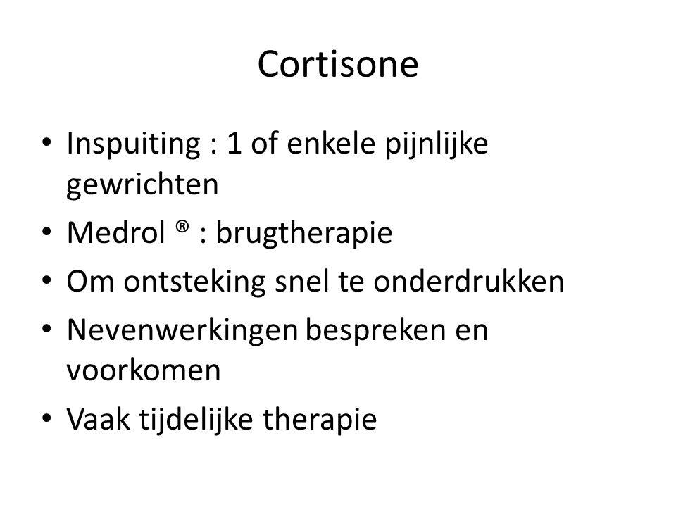 Cortisone Inspuiting : 1 of enkele pijnlijke gewrichten