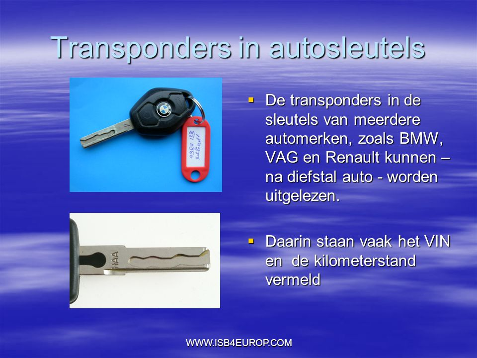 Transponders in autosleutels