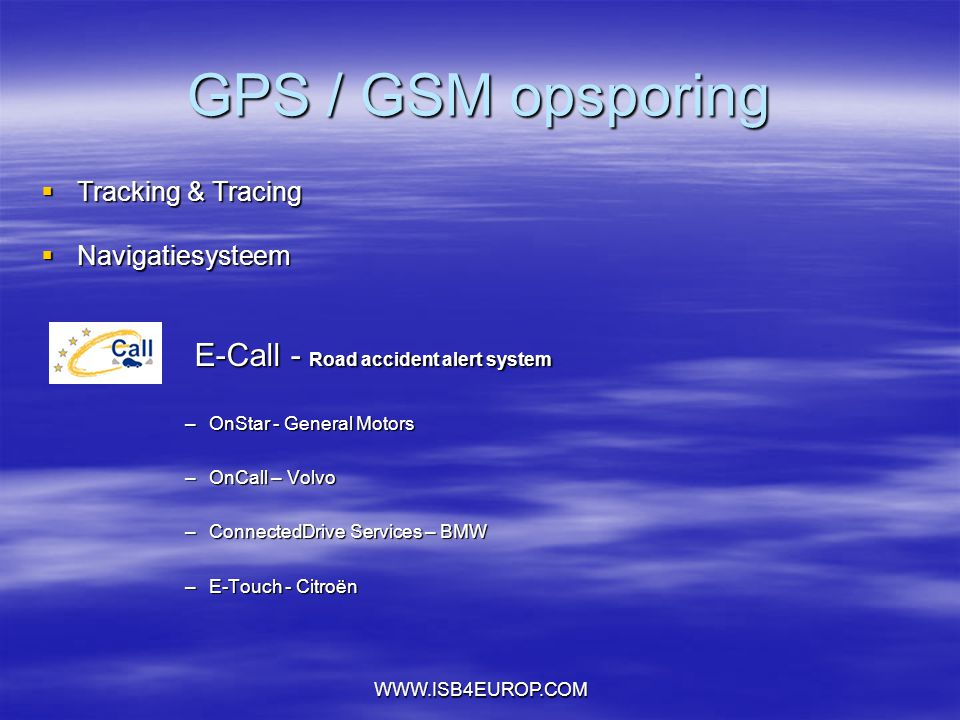GPS / GSM opsporing E-Call - Road accident alert system