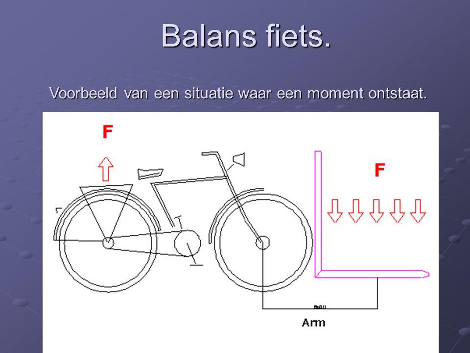 Balans fiets. Voorbeeld van een situatie waar een moment ontstaat.