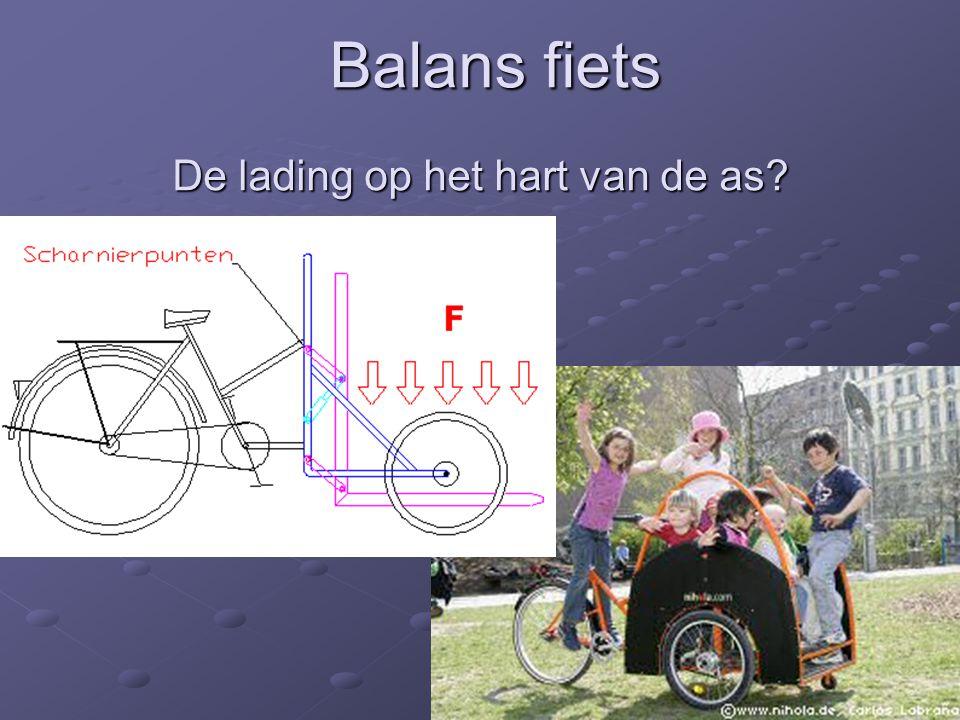 Balans fiets De lading op het hart van de as