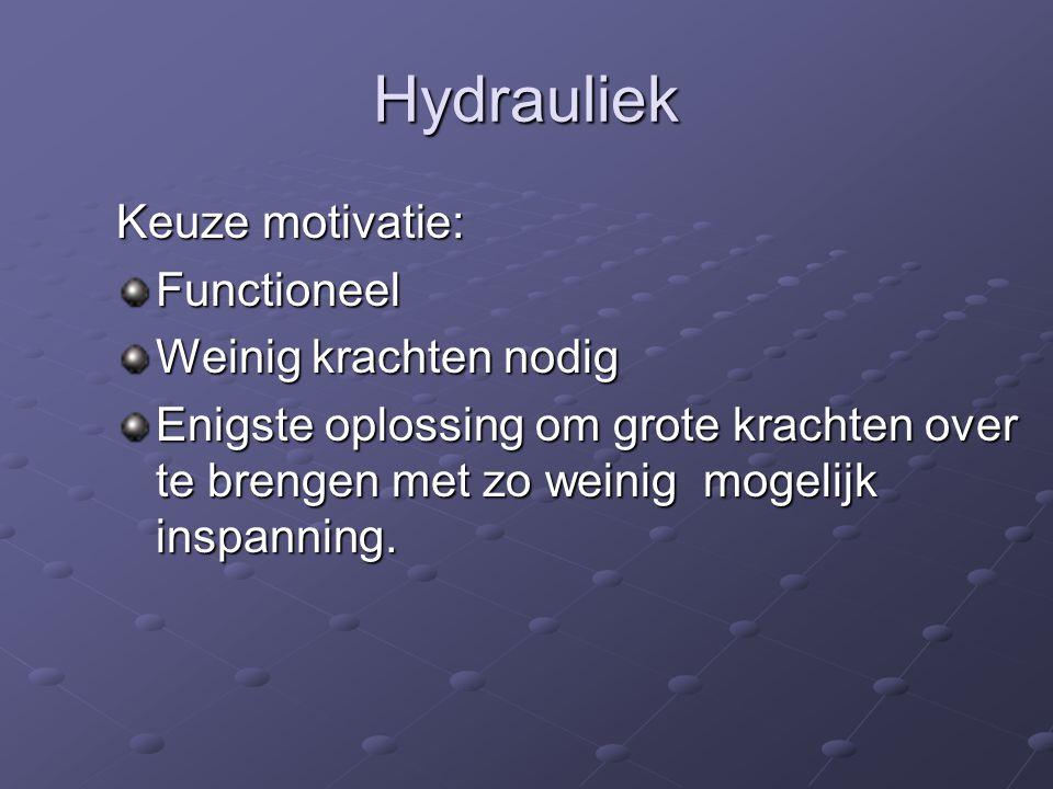 Hydrauliek Keuze motivatie: Functioneel Weinig krachten nodig