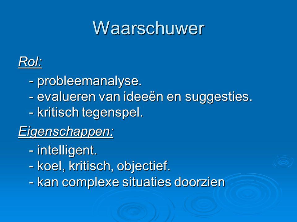 Waarschuwer Rol: - probleemanalyse. - evalueren van ideeën en suggesties. - kritisch tegenspel. Eigenschappen: