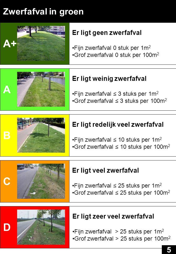 A+ A B C D Zwerfafval in groen 5 Er ligt geen zwerfafval