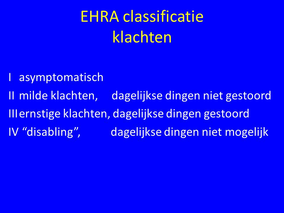 EHRA classificatie klachten
