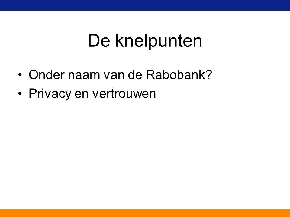 De knelpunten Onder naam van de Rabobank Privacy en vertrouwen