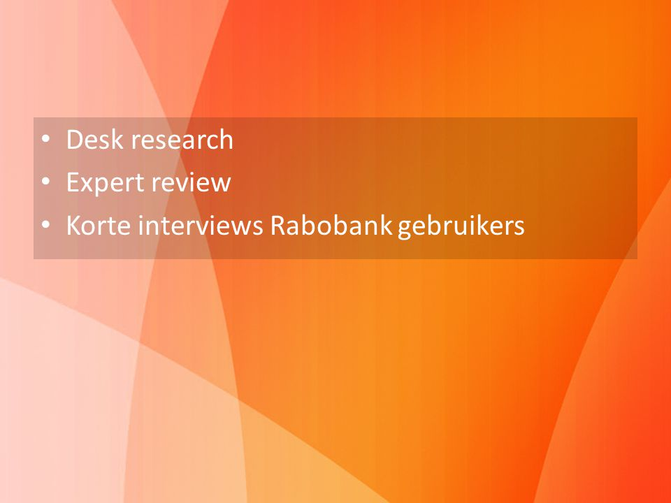 Vooronderzoek Desk research Expert review