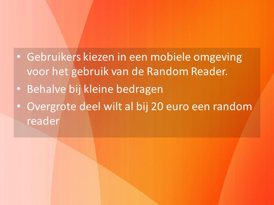 Insights test Gebruikers kiezen in een mobiele omgeving voor het gebruik van de Random Reader. Behalve bij kleine bedragen.