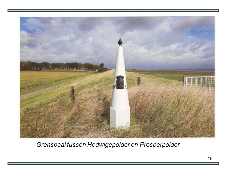 Grenspaal tussen Hedwigepolder en Prosperpolder