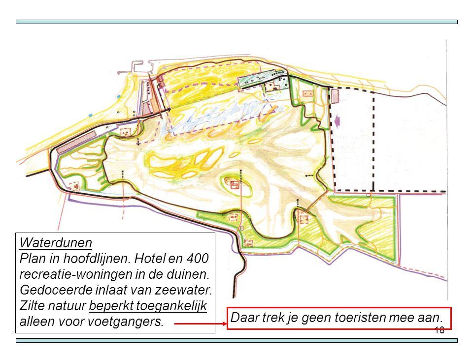 Waterdunen Plan in hoofdlijnen. Hotel en 400 recreatie-woningen in de duinen. Gedoceerde inlaat van zeewater.