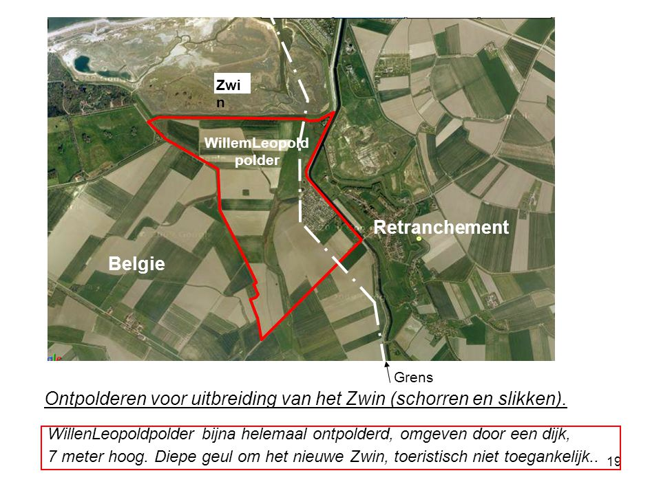 Ontpolderen voor uitbreiding van het Zwin (schorren en slikken).