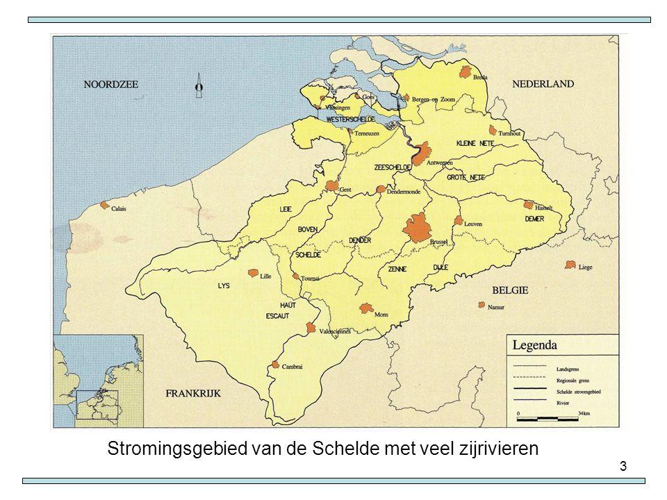 Stromingsgebied van de Schelde met veel zijrivieren