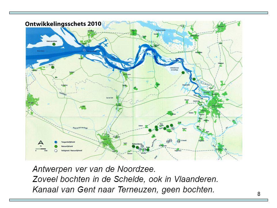 Antwerpen ver van de Noordzee.