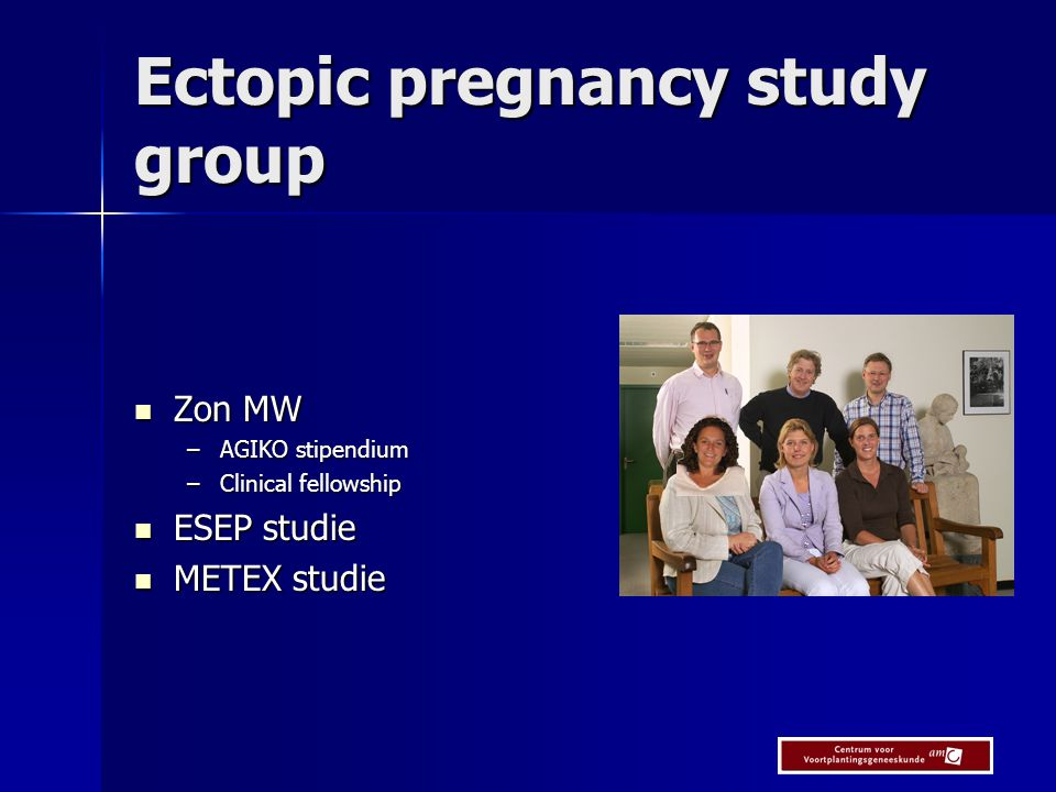 Ectopic pregnancy study group