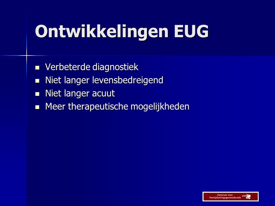 Ontwikkelingen EUG Verbeterde diagnostiek Niet langer levensbedreigend