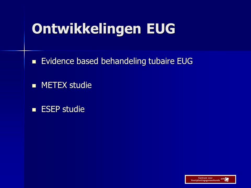 Ontwikkelingen EUG Evidence based behandeling tubaire EUG METEX studie