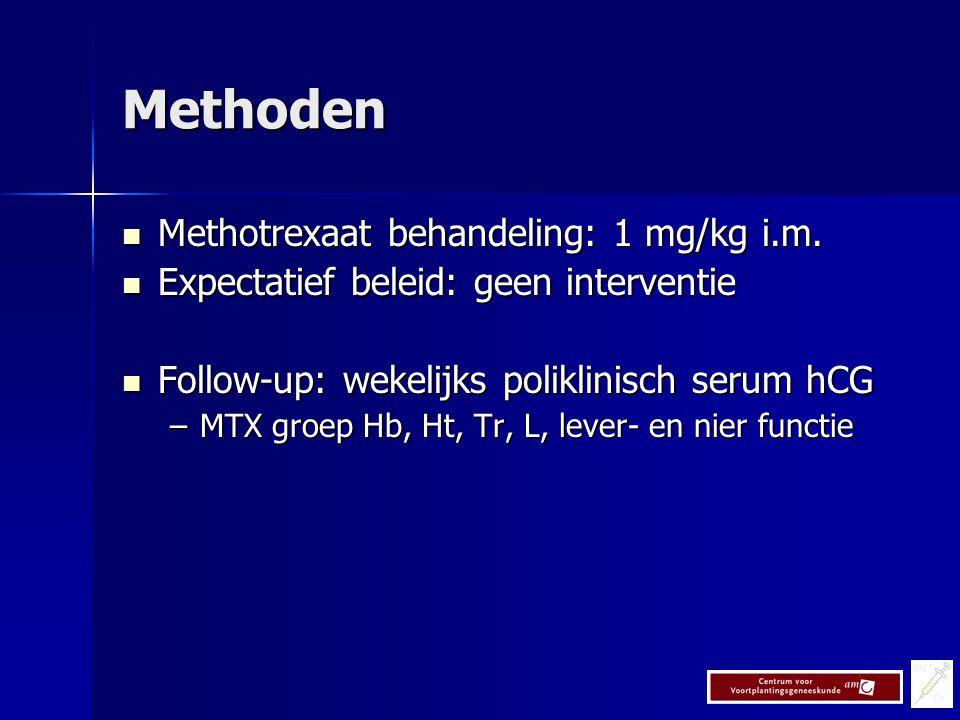 Methoden Methotrexaat behandeling: 1 mg/kg i.m.