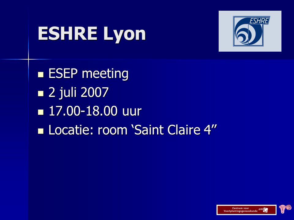 ESHRE Lyon ESEP meeting 2 juli 2007 17.00-18.00 uur