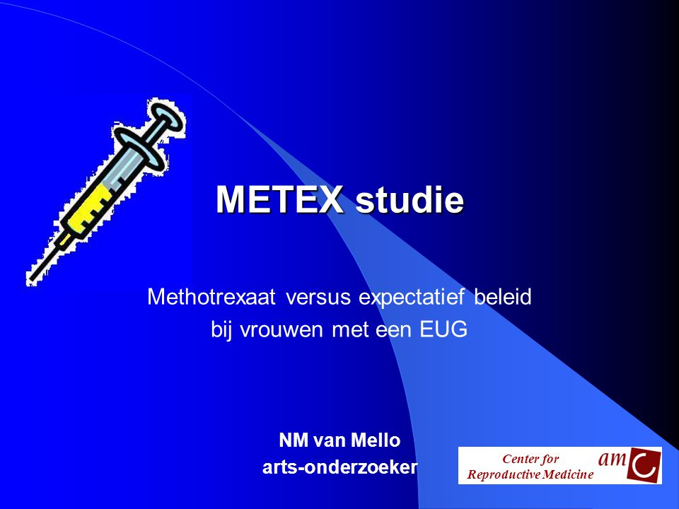 METEX studie Methotrexaat versus expectatief beleid bij vrouwen met een EUG NM van Mello arts-onderzoeker
