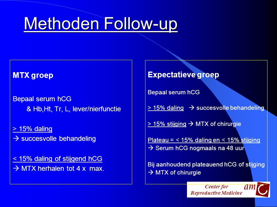 Methoden Follow-up MTX groep Expectatieve groep Bepaal serum hCG