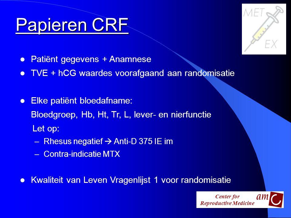 Papieren CRF Patiënt gegevens + Anamnese