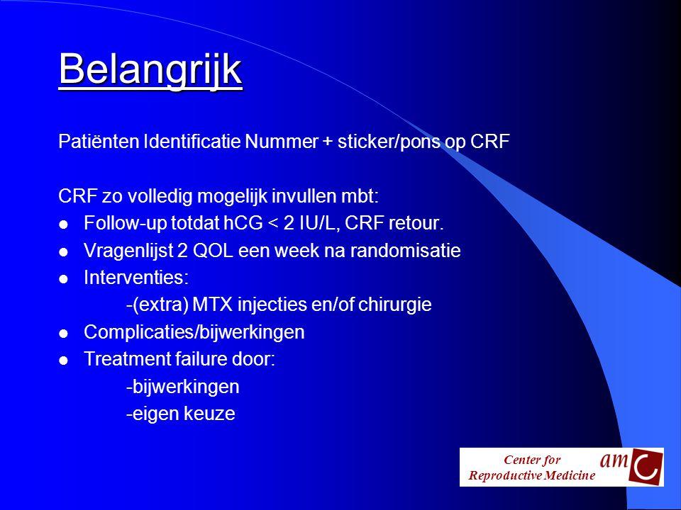 Belangrijk Patiënten Identificatie Nummer + sticker/pons op CRF