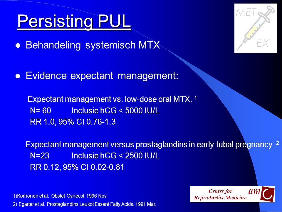 Persisting PUL Behandeling systemisch MTX