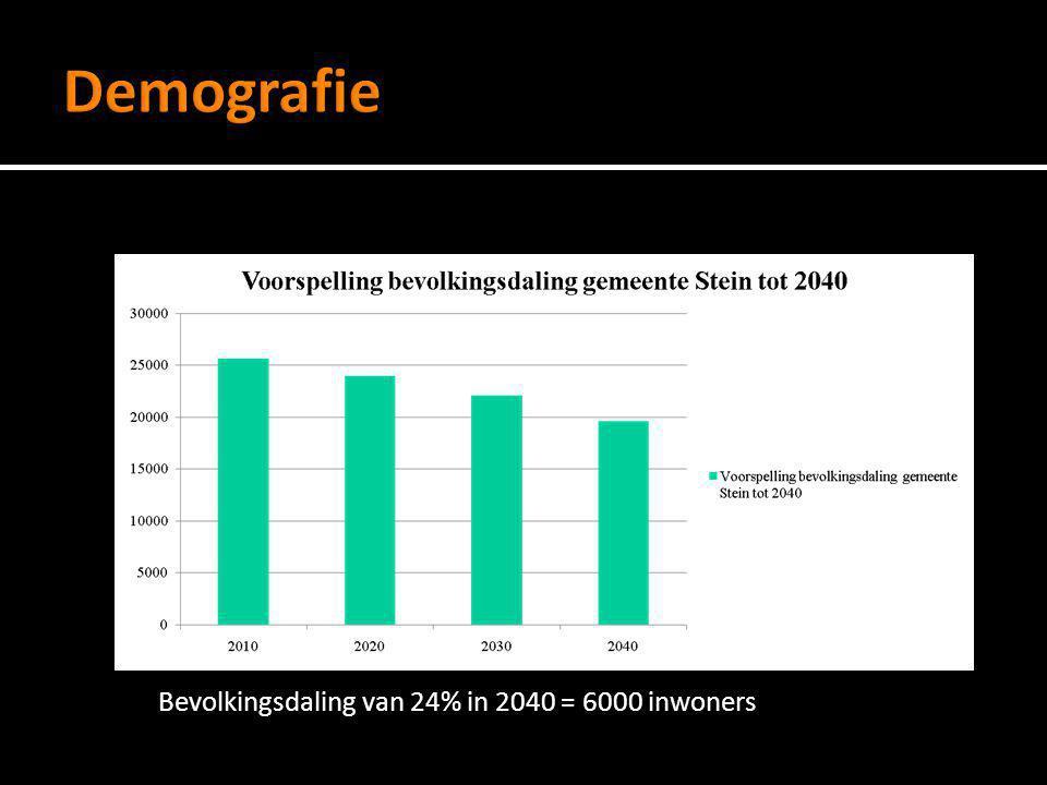 Demografie Bevolkingsdaling van 24% in 2040 = 6000 inwoners
