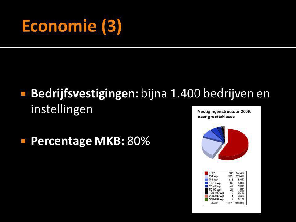 Economie (3) Bedrijfsvestigingen: bijna 1.400 bedrijven en instellingen Percentage MKB: 80%