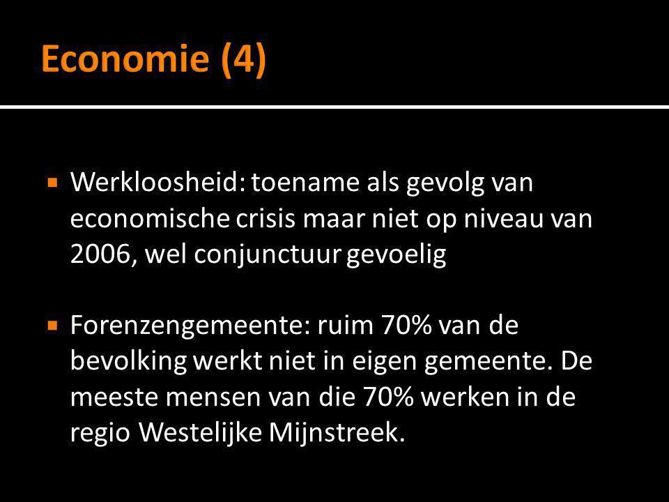 Economie (4) Werkloosheid: toename als gevolg van economische crisis maar niet op niveau van 2006, wel conjunctuur gevoelig.