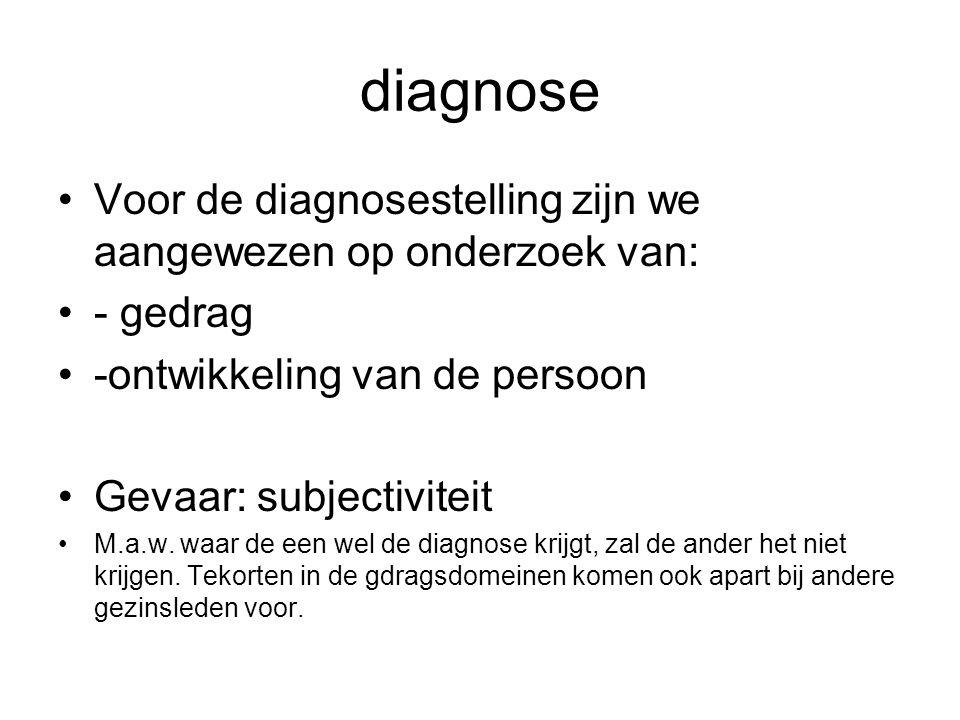 diagnose Voor de diagnosestelling zijn we aangewezen op onderzoek van: