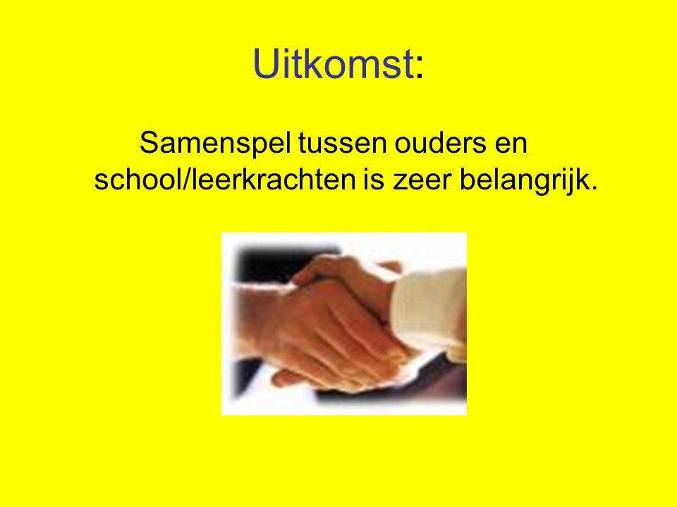 Samenspel tussen ouders en school/leerkrachten is zeer belangrijk.