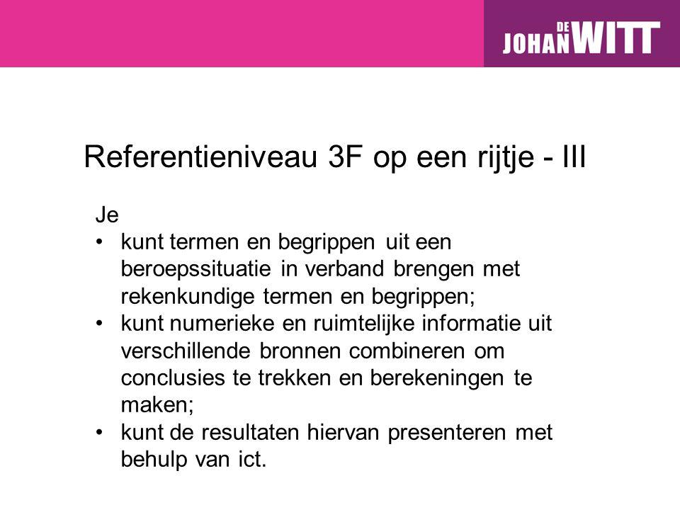 Referentieniveau 3F op een rijtje - III