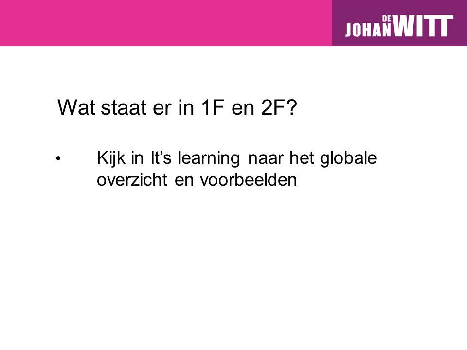 Wat staat er in 1F en 2F Kijk in It's learning naar het globale overzicht en voorbeelden