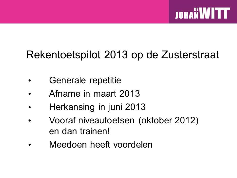 Rekentoetspilot 2013 op de Zusterstraat