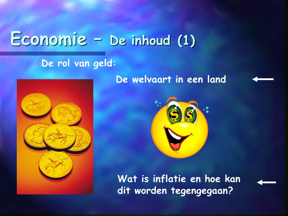 Economie – De inhoud (1) De rol van geld: De welvaart in een land