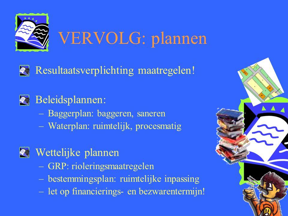 VERVOLG: plannen Resultaatsverplichting maatregelen! Beleidsplannen: