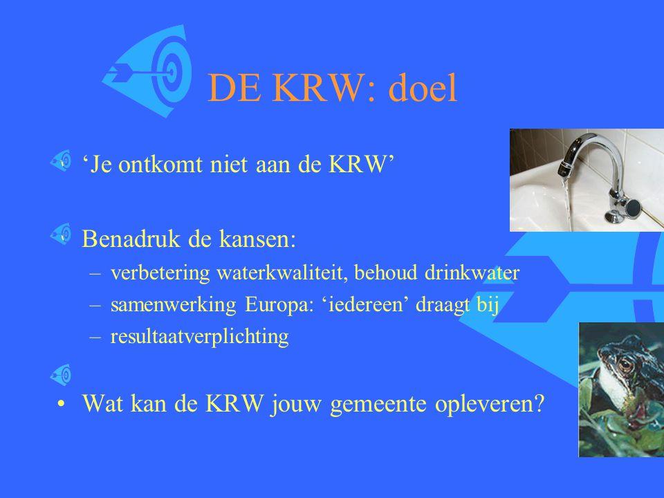 DE KRW: doel 'Je ontkomt niet aan de KRW' Benadruk de kansen: